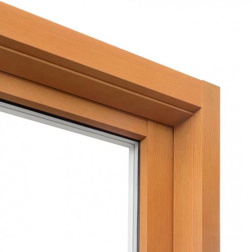 Telaio e anta in alluminio assemblati a 90°, tipologia alzante scorrevole 1 anta apribile e laterale fisso fermavetro. Vista esterna.